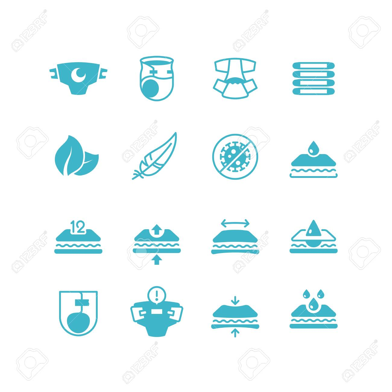 Baby diaper production characteristics icons. Soft, dry, stretch, breathable nappy with absorber vector symbols - 102791152
