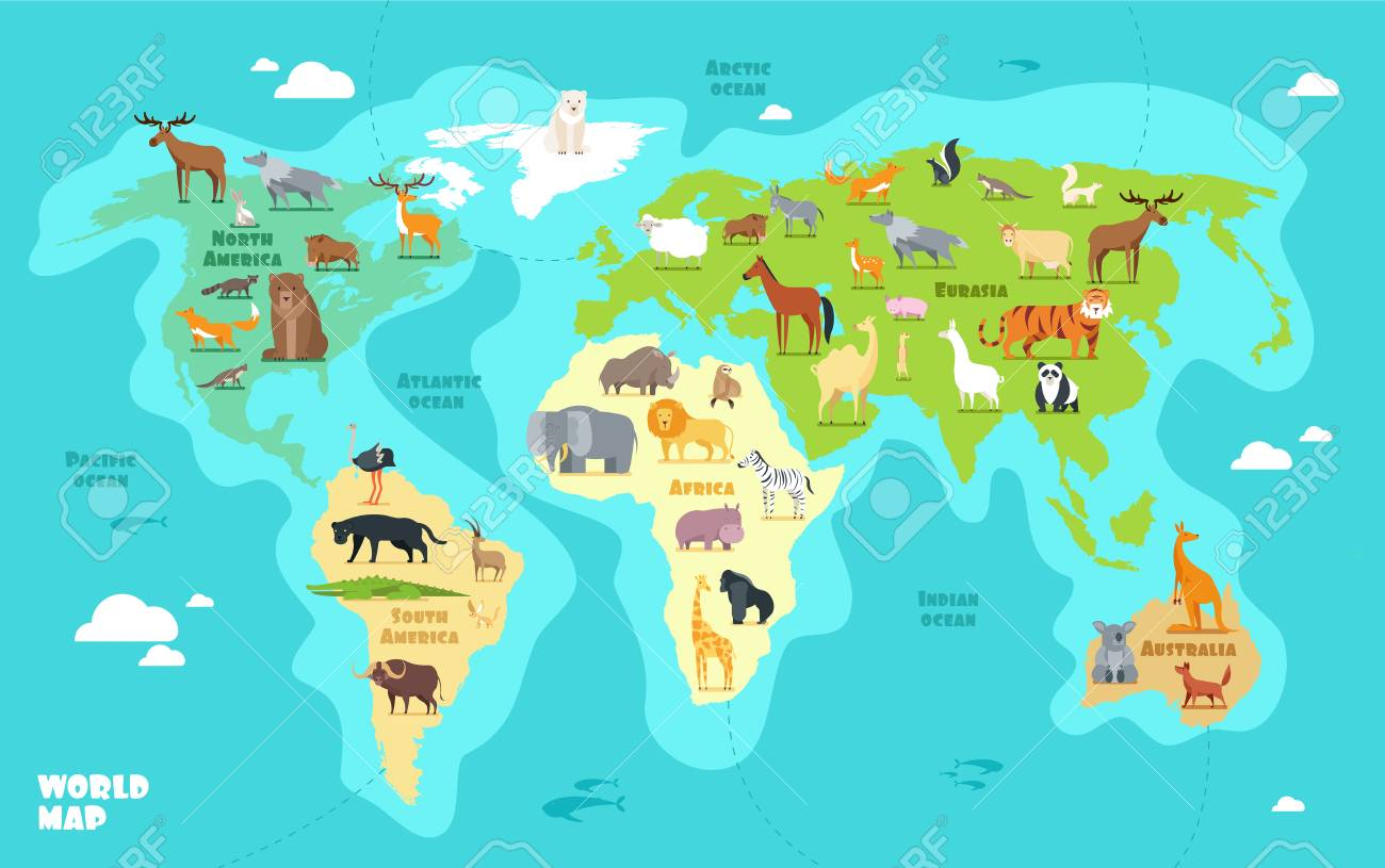 Cartoon World Map With Animals Oceans And Continents Funny Royalty Free Cliparts Vectors And Stock Illustration Image 102791386