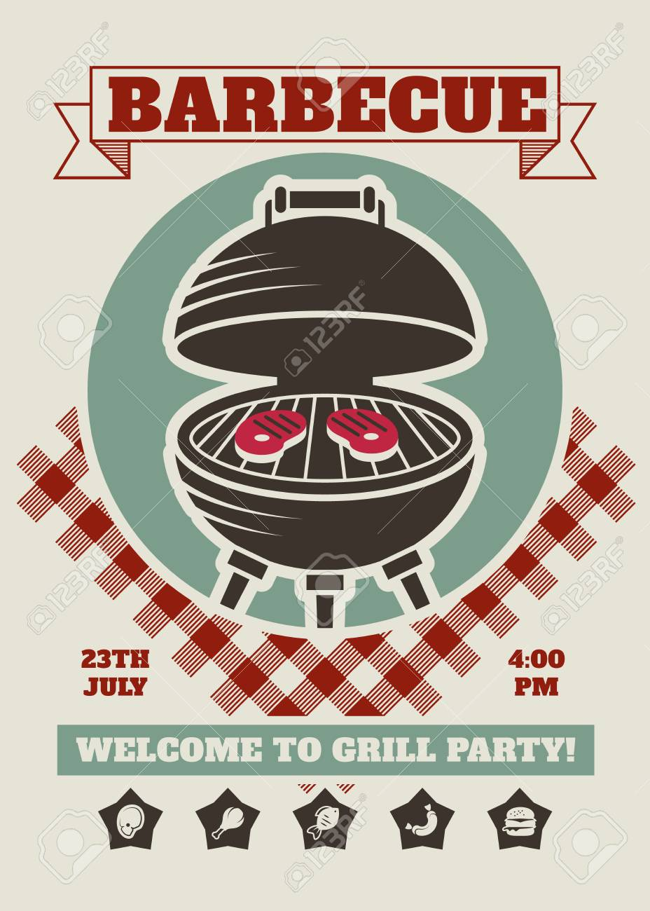 retro barbecue party restaurant invitation template bbq cookout