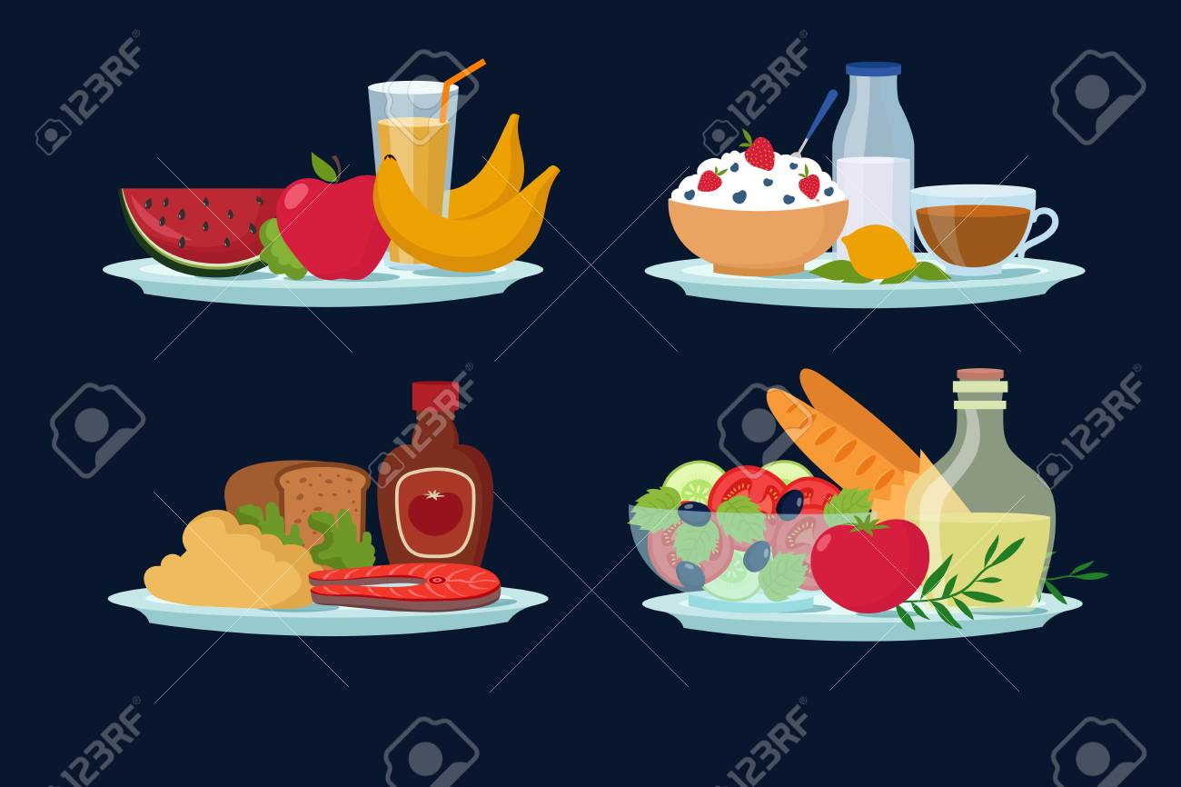 Daily Diet Meals Healthy Food For Breakfast Lunch Dinner Cartoon