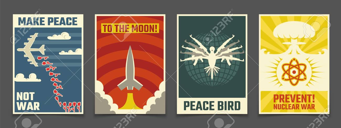 Soviet anti war, peaceful propaganda vector vintage posters - 103448824
