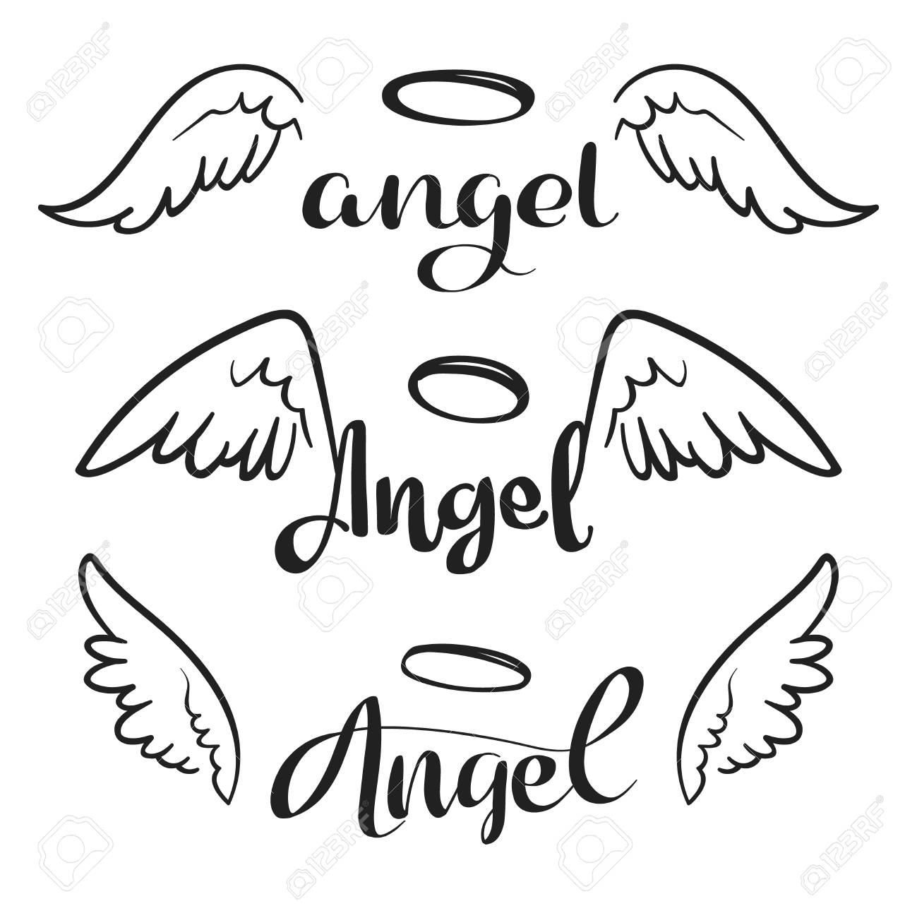 Doodle Flying Angel Wings With Halo Sketch Angelic Wings Freedom