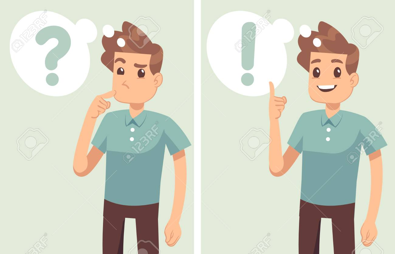 Smart young man, student thinking, understands problem and finds successful solution, vector cartoon characters isolated. Young man character solution and thinking illustration - 104365266