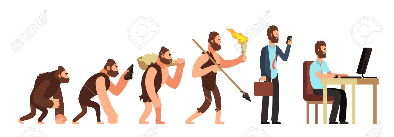 Human evolution. From monkey to businessman and computer user. Cartoon vector characters evolution human, ape and ancestors illustration - 115030648