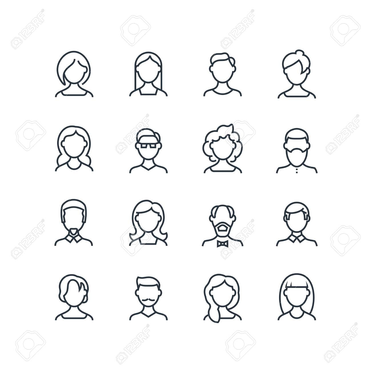 Woman and man face line icons. Female male profile outline symbols..