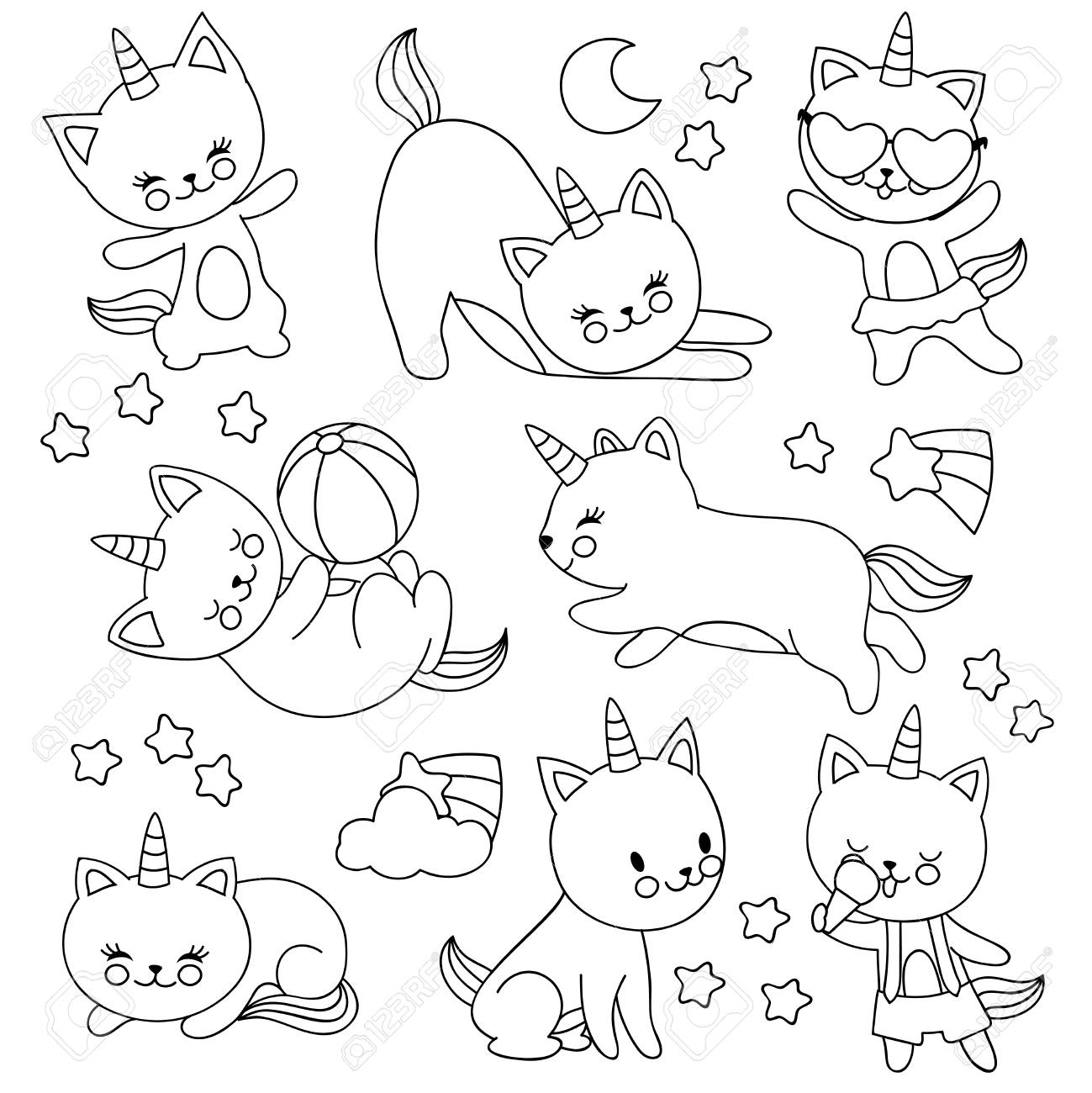 Hand drawn cute flying unicorn cats vector cartoon characters for kids coloring book cat