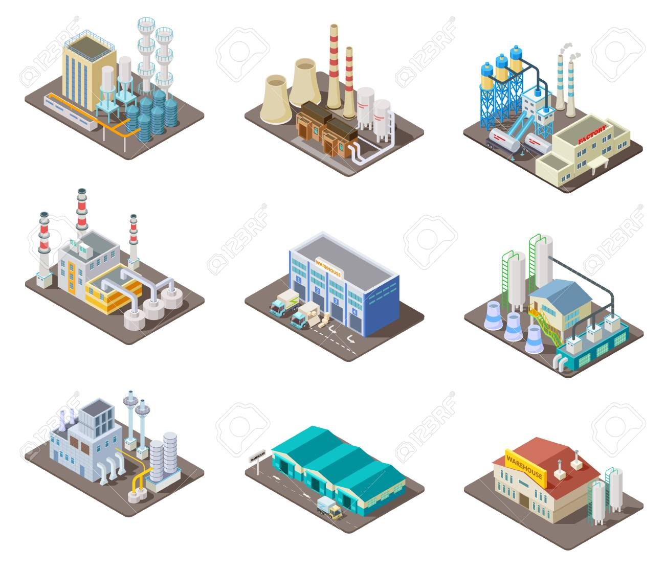 Isometric factory set. 3d industrial buildings, power plant and warehouse. Isolated vector collection. Industrial factory and warehouse, industry 3d manufacture production illustration - 106303697