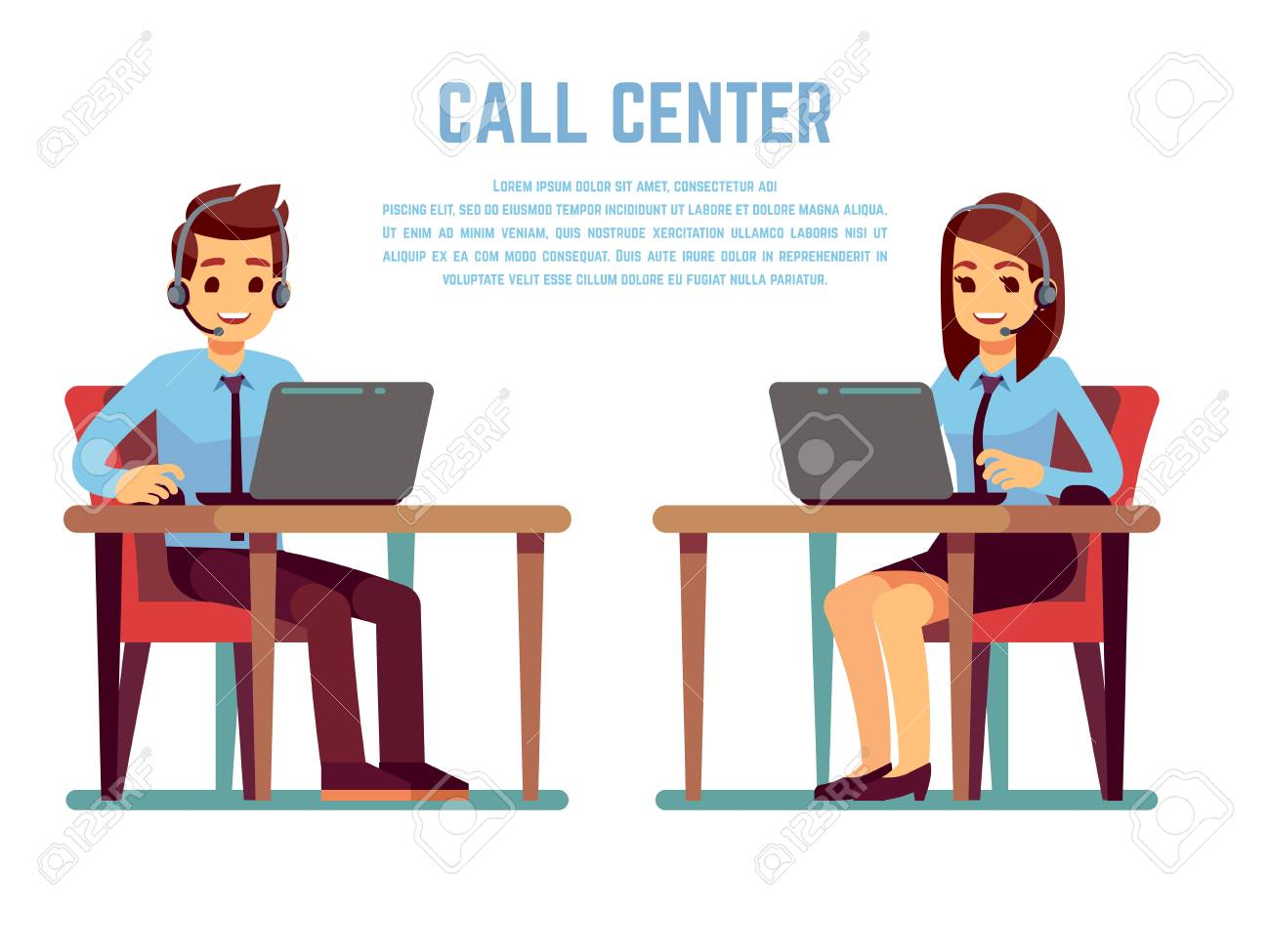 Smiling young woman and man operator with headset talking with customer. Cartoon characters for call center concept - 106838103