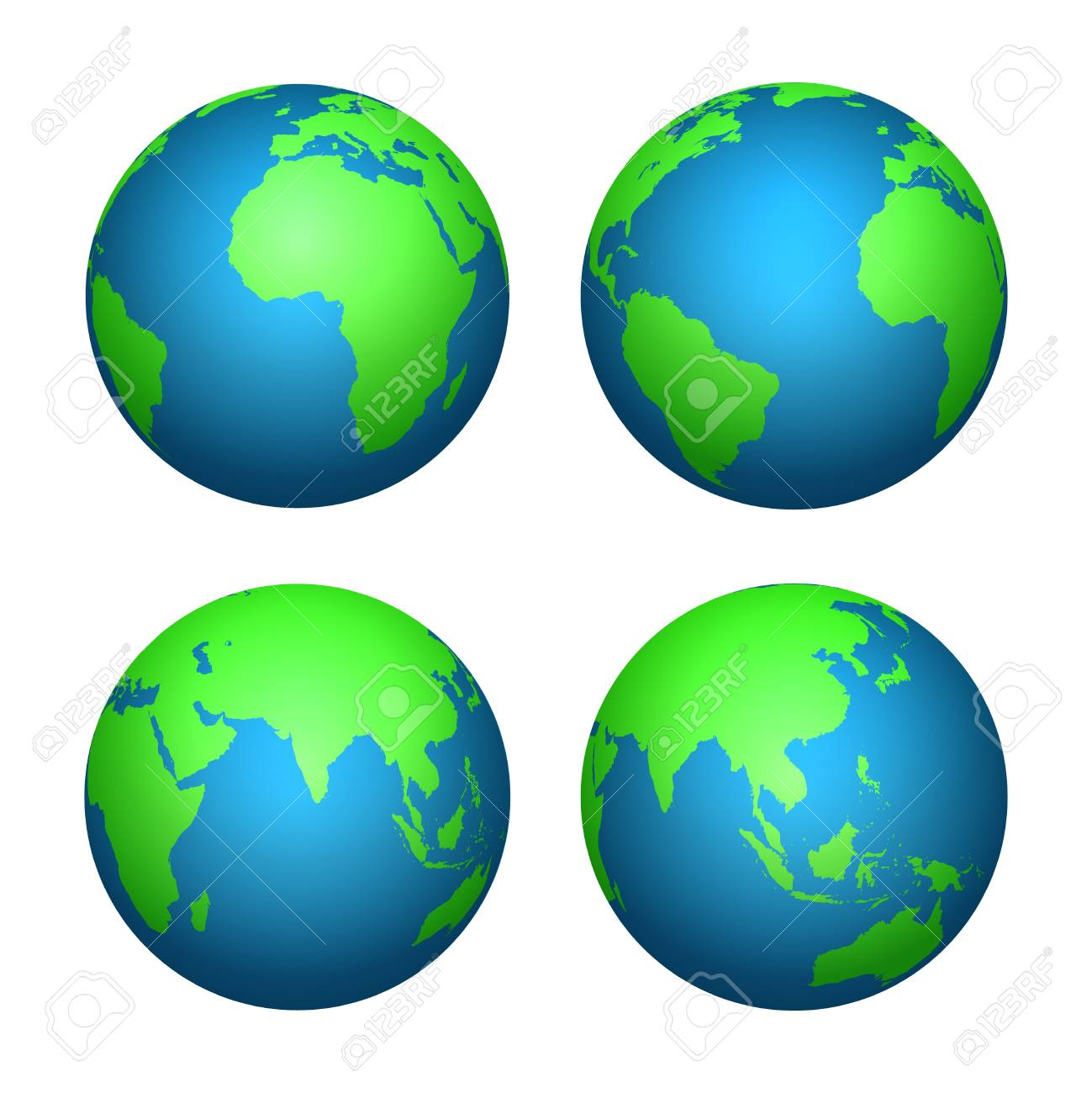 Earth 3d Globe World Map With Green Continents And Blue Oceans