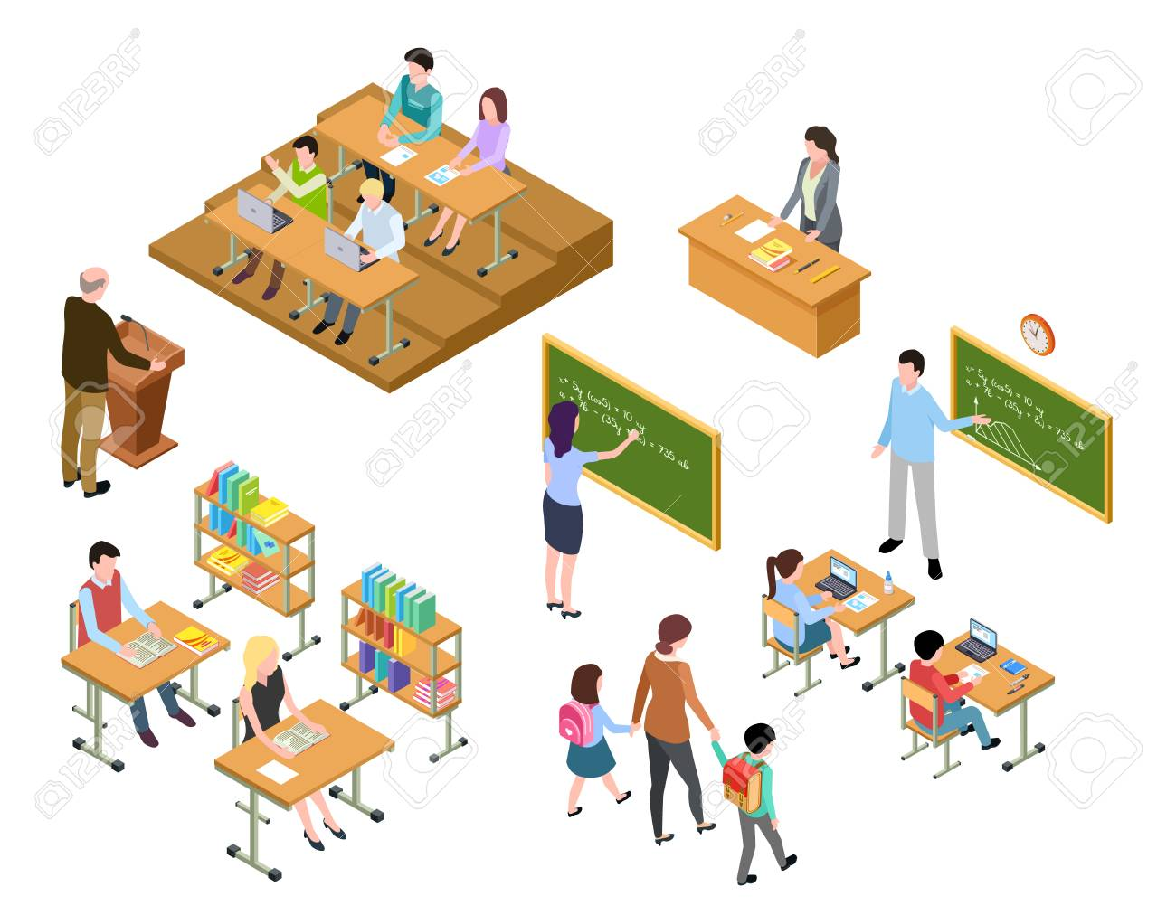 Isometric school. Children and teacher in classroom and library. People in uniform and students. School education vector 3d concept. Library and classroom, education school class illustration - 111588988