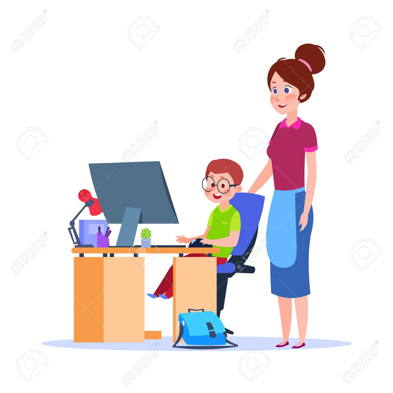 Mother and child at computer. Mom helping boy with homework. Cartoon school education vector concept. Illustration of mother and child, education and studying homework - 111589004