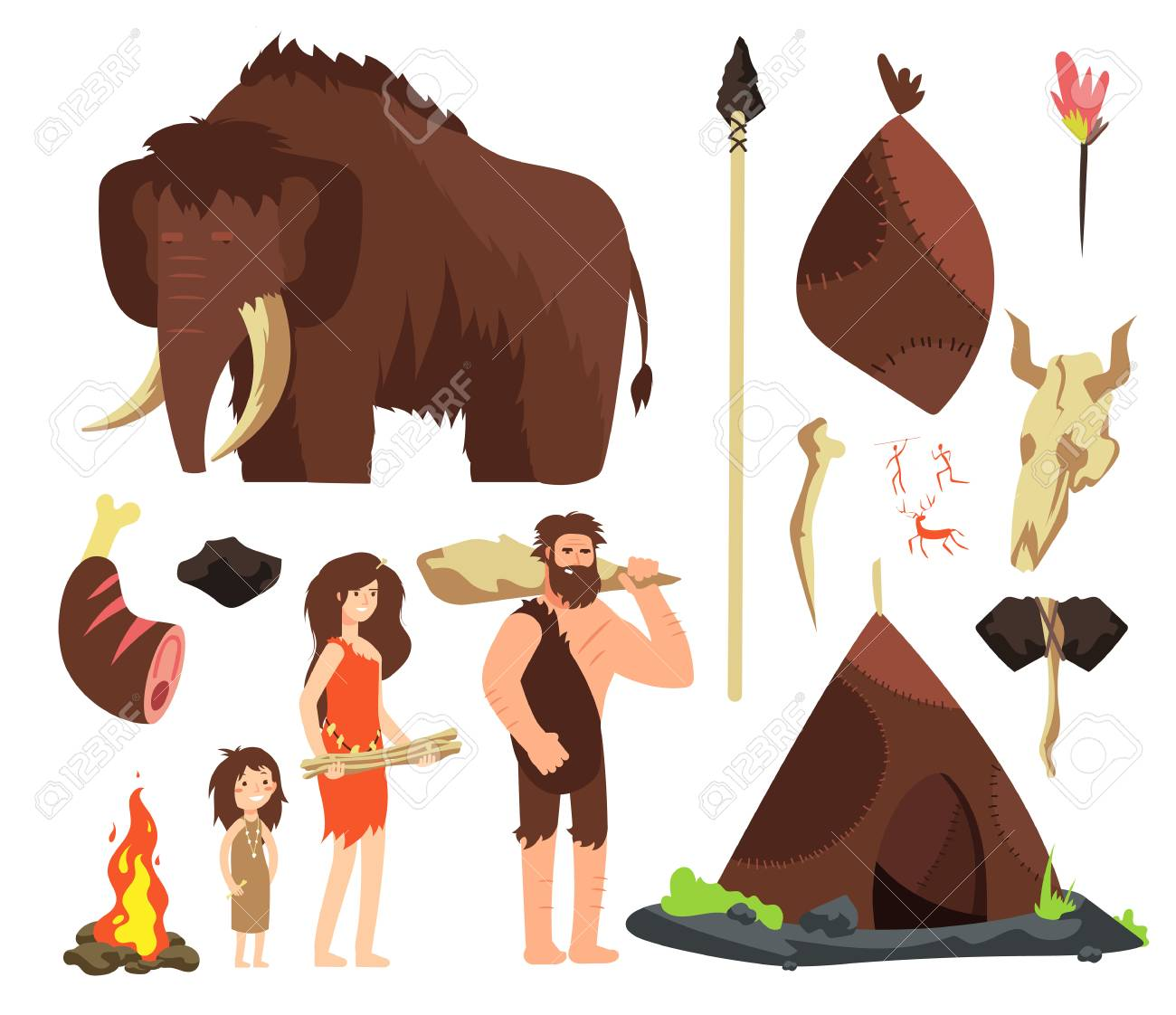 Caveman. Cartoon neolithic people characters. Prehistoric neanderthal family with animals and weapons. Isolated vector set. Mammoth and hut, neanderthal ancient people illustration - 107382892