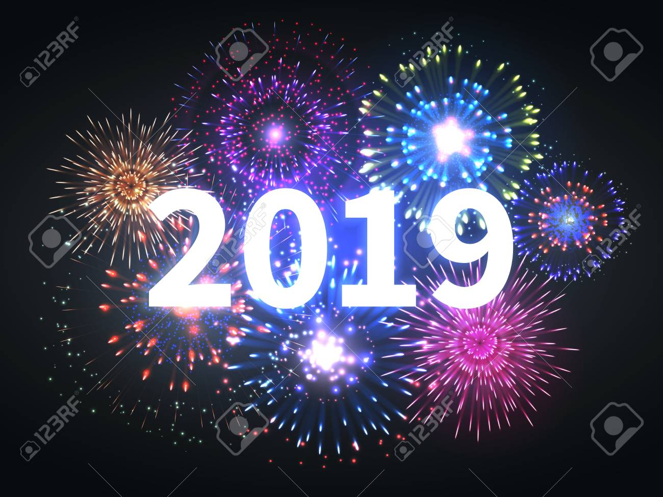 fireworks explosion happy new year 2019 event banner pyrotechnics sparks festive firework celebration