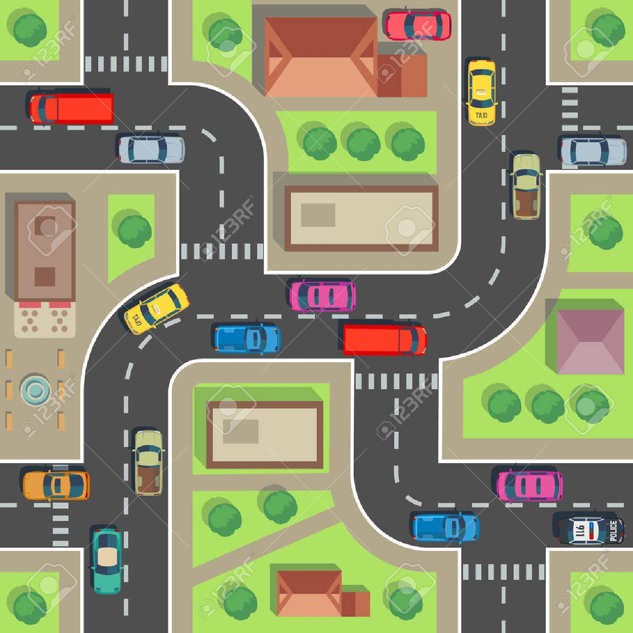 Seamless city map. Top view building and street with cars and trucks. Urban plan vector endless texture. Road and building architecture, street transport seamless illustration - 110270971