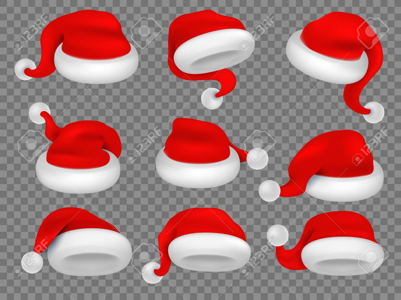 7ddd848f76a9c Christmas santa claus hats. Winter xmas holiday headwear. Red plush santa  caps realistic vector