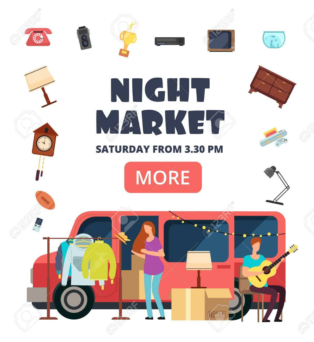 Night market, street bazaar invitation poster. Flea markets vector flyer. Flea market for hipster, marketplace selling illustration - 110271058
