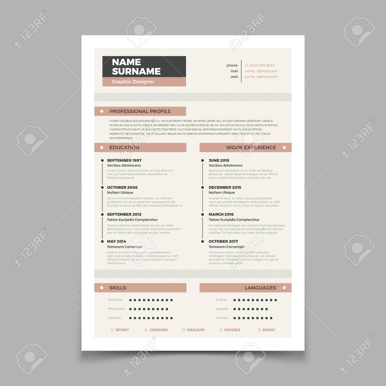 Business Resume Cv Stylish Elegance Template Letter Cover Vector Mockup Illustration Of