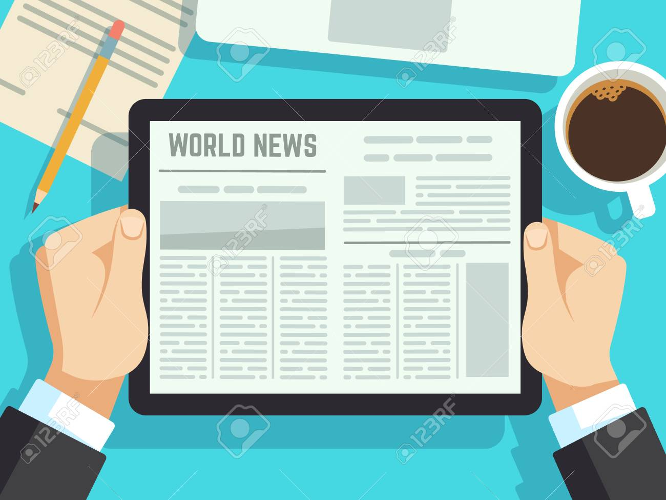 Businessman reading news on on table. Online newspaper, daily magazines. Business news at breakfast vector concept. Business daily digital newspaper media illustration - 110256311
