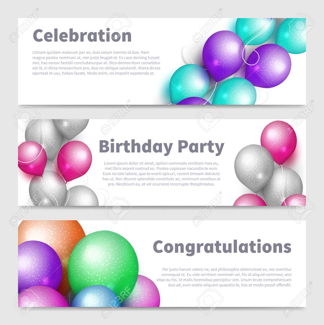 Birthday party banners with celebration realistic balloons vector set isolated on white illustration - 110256338