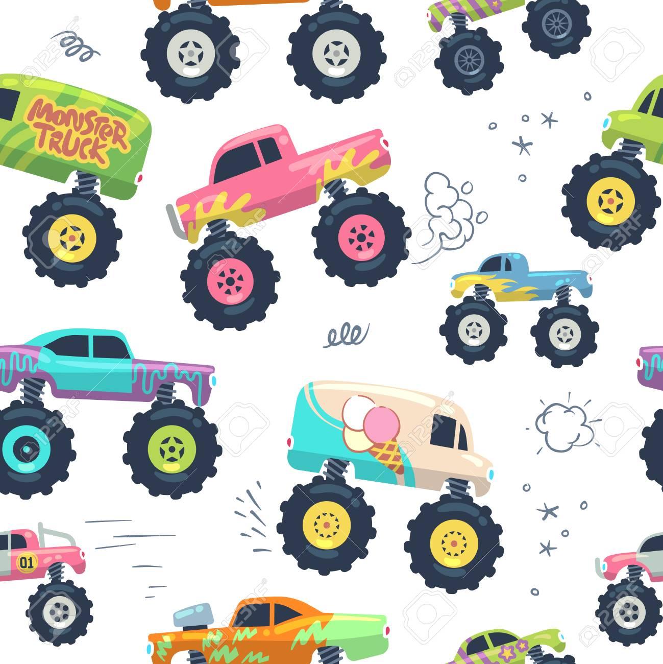 Monster Cars Seamless Pattern Kid Trucks With Big Wheel Vector