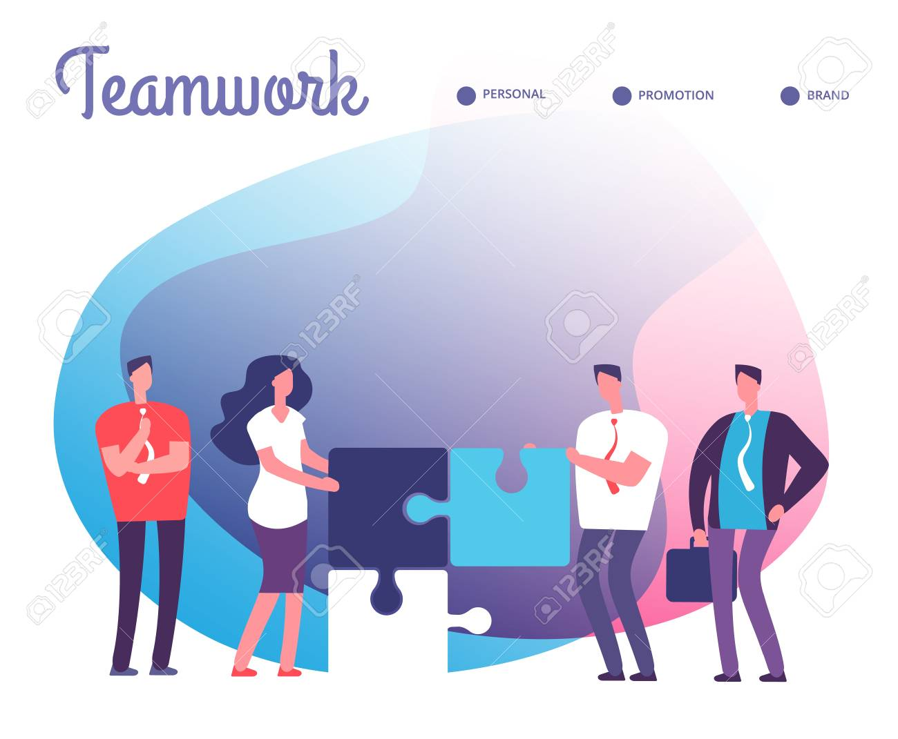Business people solve puzzle. Development, easy solution and teamwork vector concept with employee characters and puzzle pieces. Teamwork business solution, employee make puzzle cooperation - 109357111