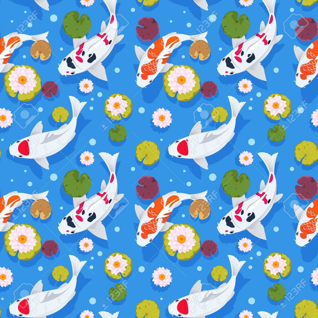 Koi fish seamless pattern. Japanese carp in china garden. Oriental nature background. Asian
