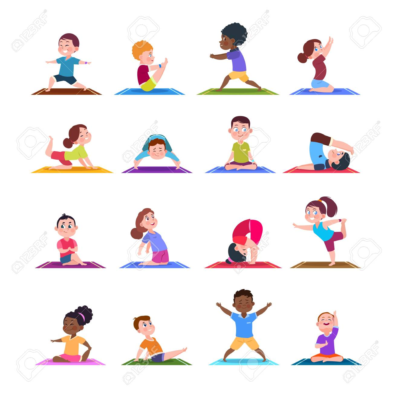 Children In Yoga Poses Cartoon Fitness Kids In Yoga Asana Vector Royalty Free Cliparts Vectors And Stock Illustration Image 128172730