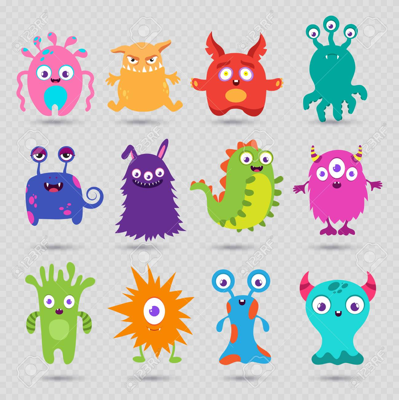 Cute Cartoon Baby Monsters Vector Isolated On Transparent Background