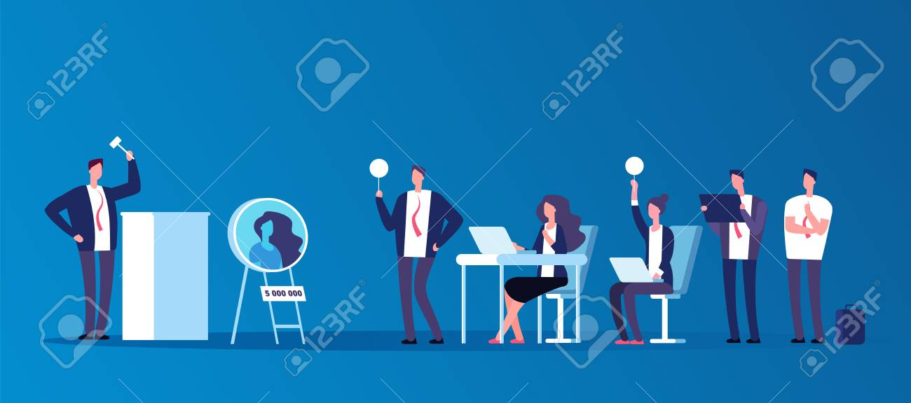 Auction concept. People people bidding in public auction house. Bidder, buyer and auctioneer vector characters. Auction and auctioneer, market trade illustration - 128172865