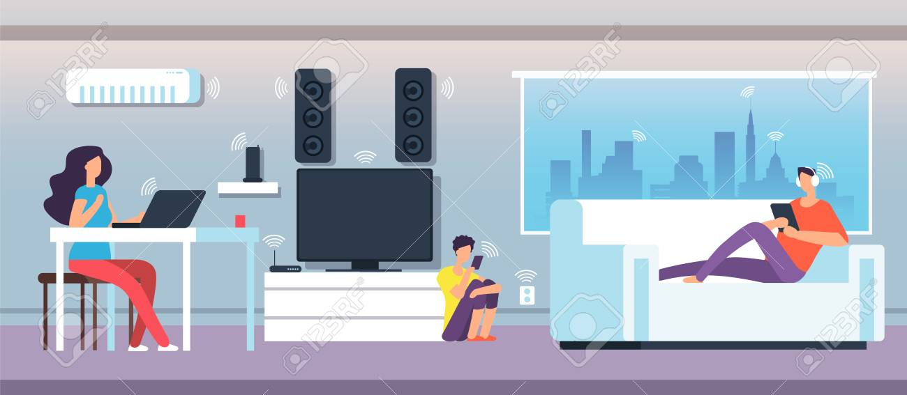 Electromagnetic field in home. People under EMF waves from appliances and devices. Electromagnetic pollution vector concept. Illustration of smart network communication wifi digital - 109854605