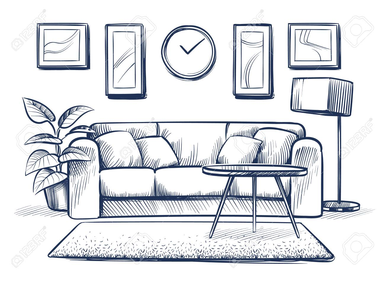 Astonishing Sketch Interior Doodle Living Room With Sofa Cushions And Picture Pdpeps Interior Chair Design Pdpepsorg