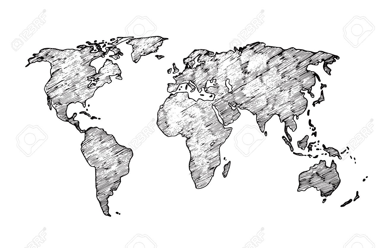 World Map Sketch. Earth Continents Rough Drawing. Scribble Classroom ...