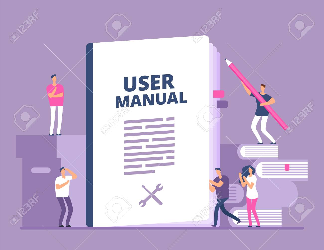 User manual concept. People with guide instruction or textbooks. User reading guidebook and writting guidance. Vector illustration. Manual book instruction, handbook help guide - 110493050