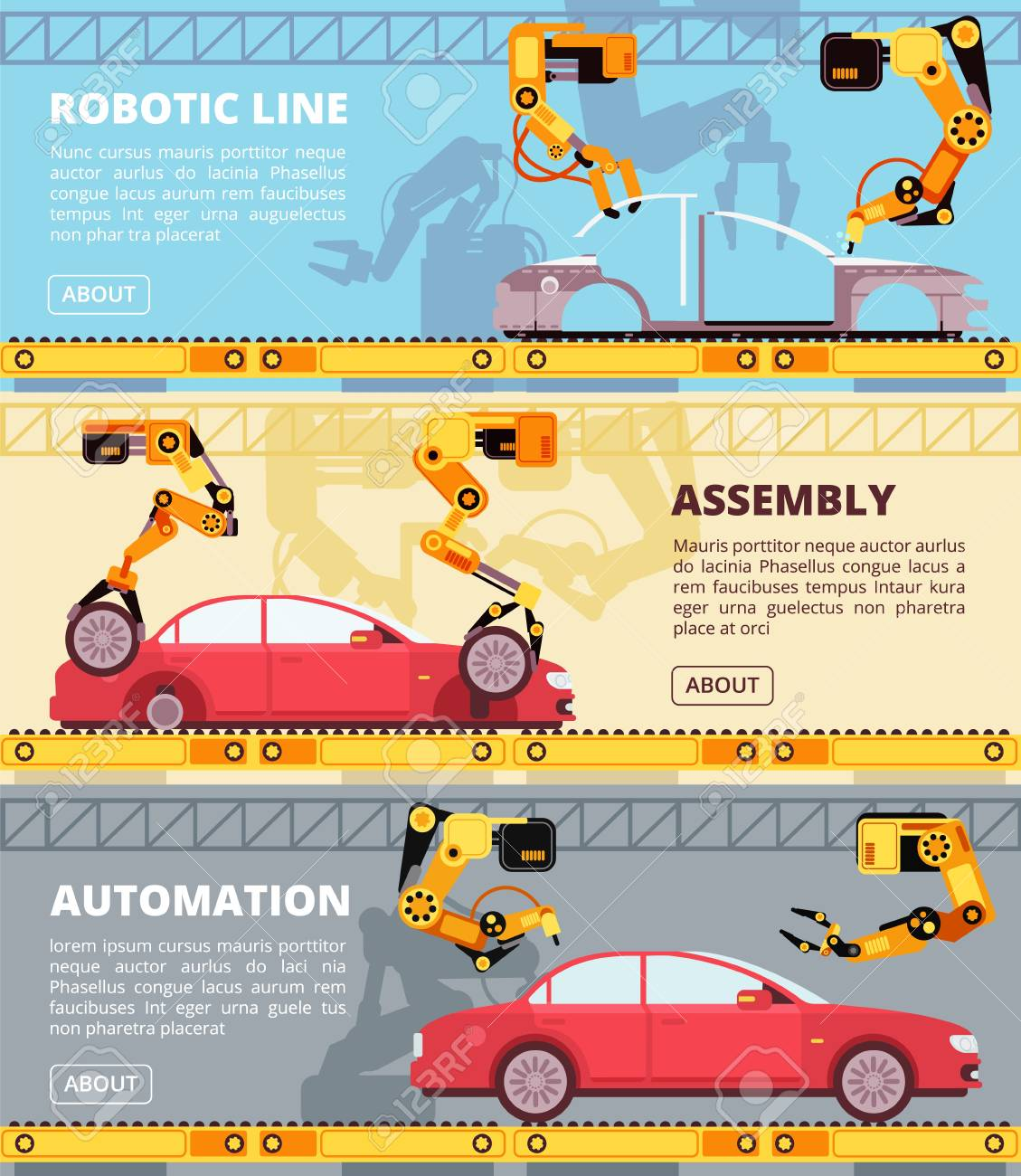 Car industry assembly line  Auto production factory with industrial