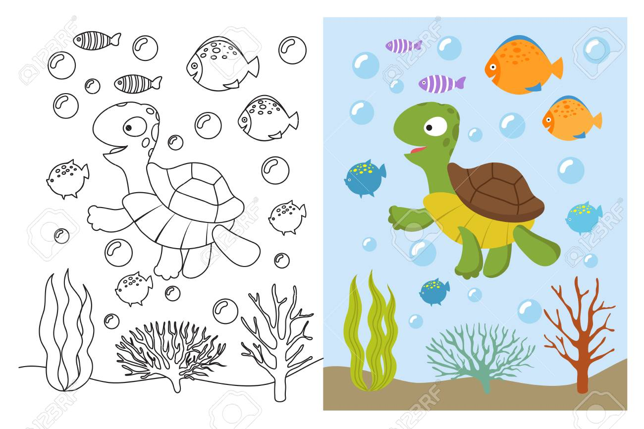Turtle coloring pages. Cartoon swimming sea animals underwater...