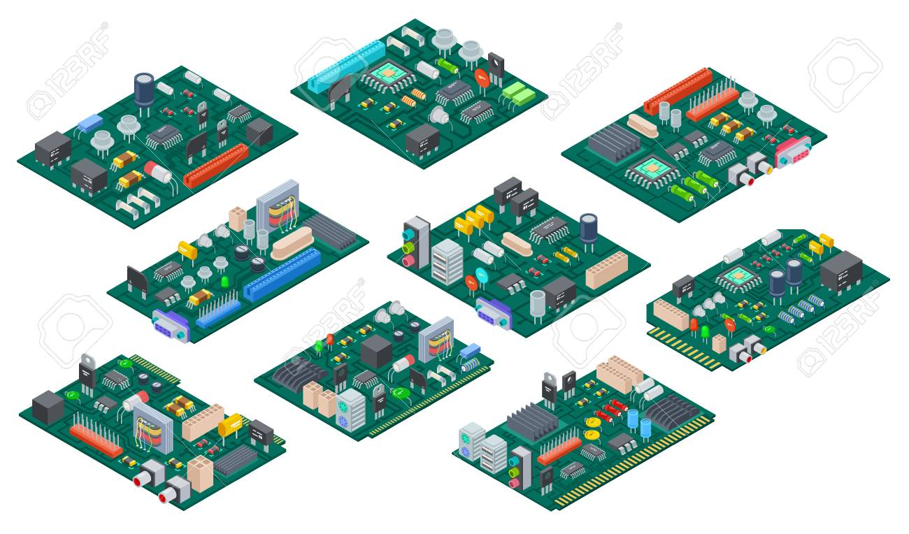 Circuit Board Isometric Electronic Computer Components Motherboard With Electronics Royalty Free Stock Semiconductor Microchip Diode Hardware Vector