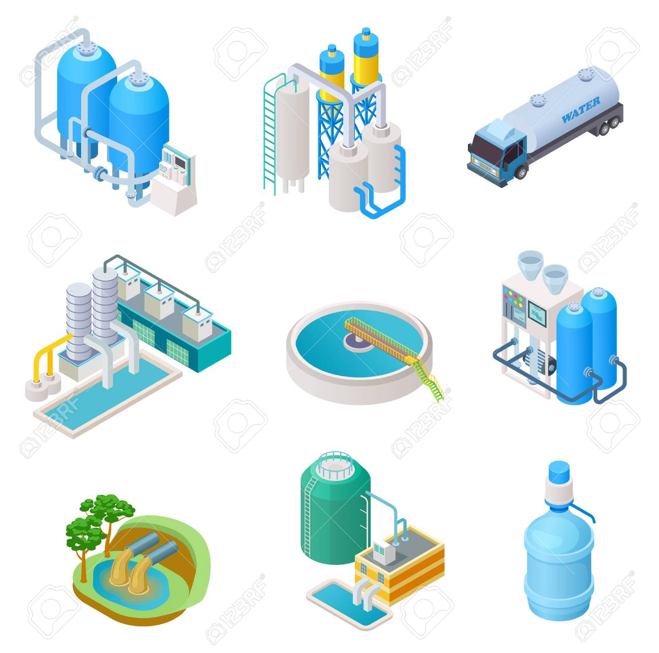 Water purification technology. Isometric treatment water industrial system, wastewater separator vector isolated set. Isometric purification and separator water, reservoir equipment illustration - 128173272