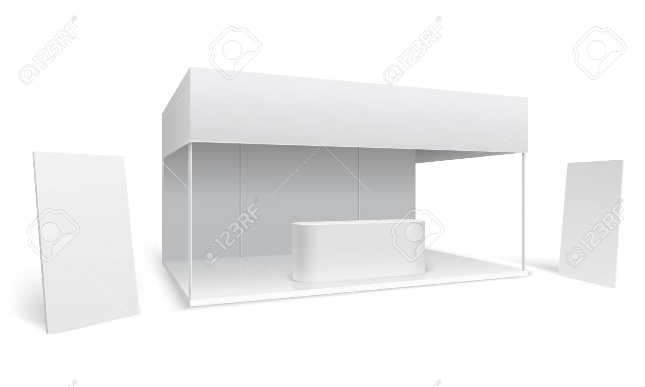 Exhibition Stall Mockup : Exhibition trade stand. white empty event marketing booth. promotion