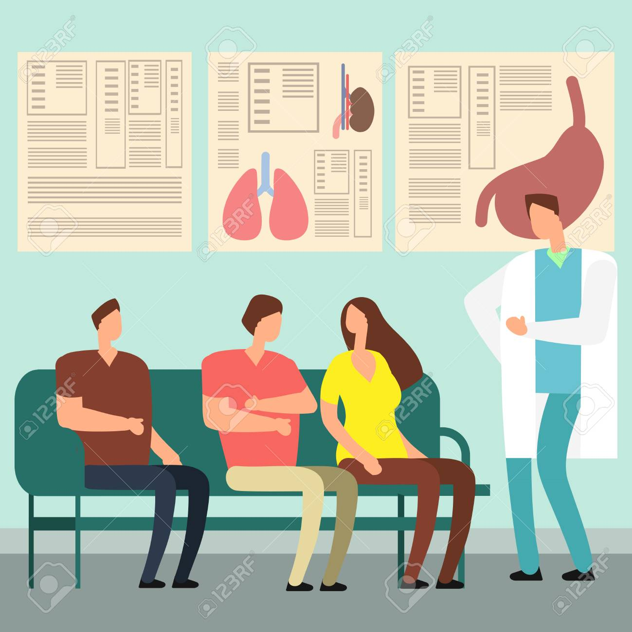 Healthcare vector concept - patients and doctor in hospital waiting room. Disabled people at doctors office. Illustration of patient waiting doctor, hospital corridor and lobby - 112030889