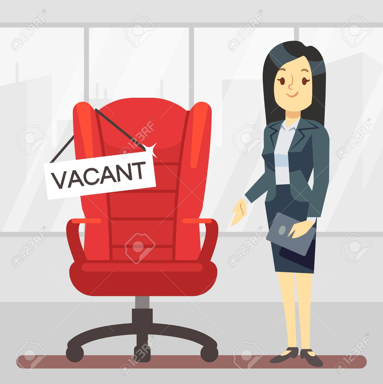 Cute Cartoon Character Hr Manager And Empty Boss Chair Employment