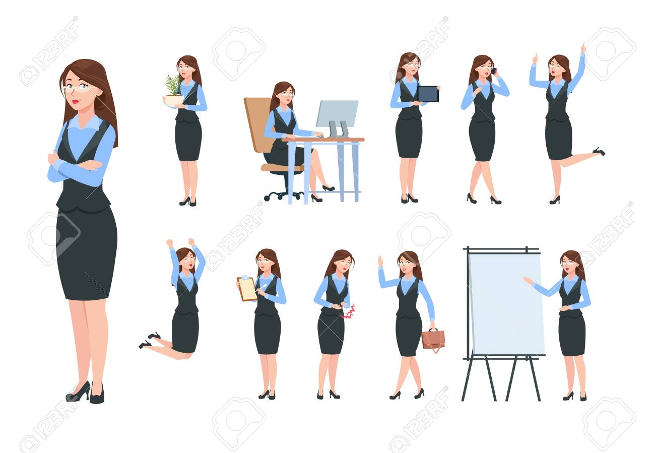 Businesswoman Characters Office Professional Woman Female In Royalty Free Cliparts Vectors And Stock Illustration Image 126757637