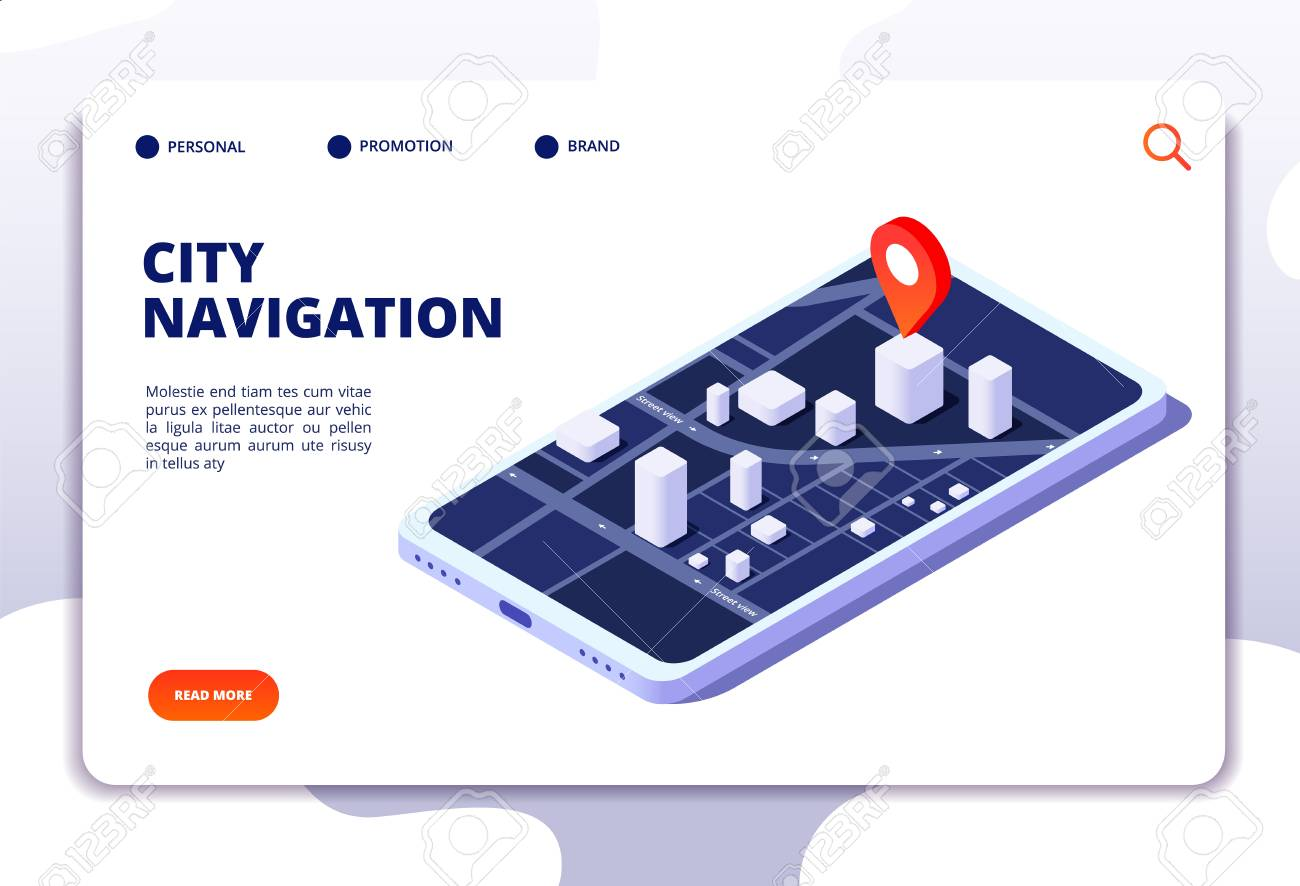 Navigation map isometric concept  Gps location system  Phone