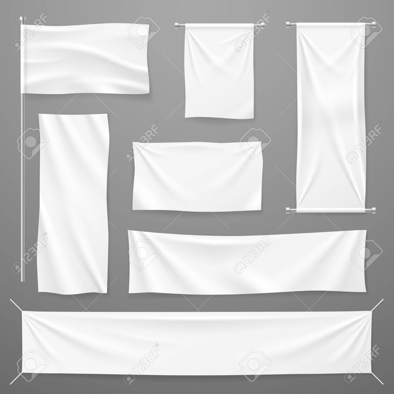 White textile advertising banners. Blank fabric cloths hanging on rope. Folded empty cotton stretched canvas. Vector mockup. Illustration of banner textile for advertising, realistic horizontal sheet - 126478327