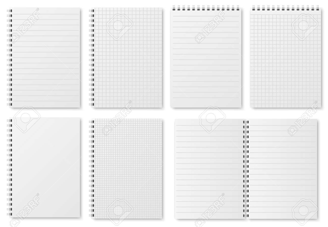Notebook paper sheets. Sketchbook blank pages with variety of lines and dots. Notepad vector isolated mockup. Illustration of notebook and notepad, note sheet document - 126067989