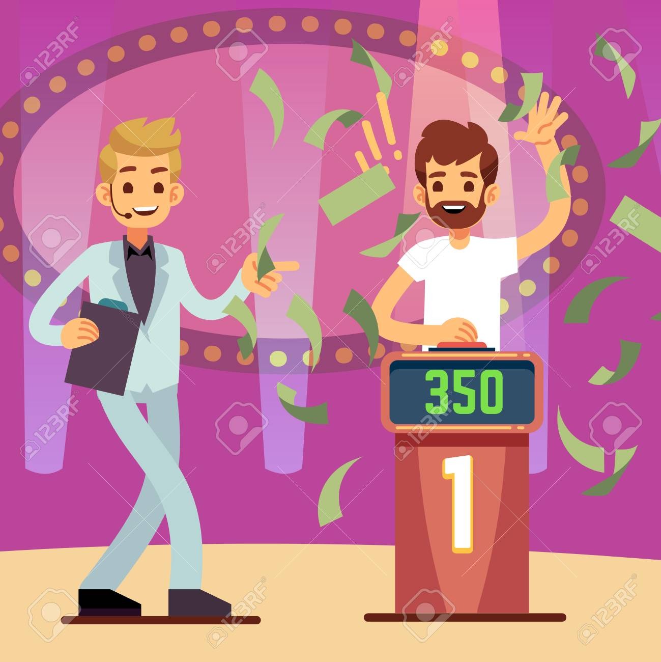 Young happy quiz game winner in the money rain vector illustration