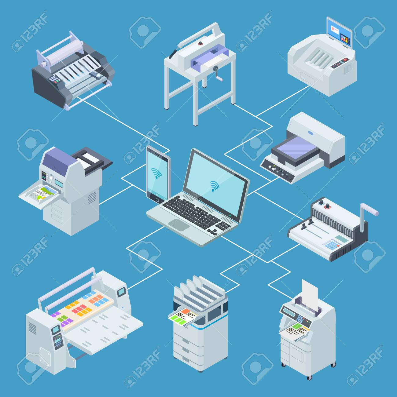 Modern printing house equipment. Printer plotter, offset cutting machines isometric vector concept. Illustration of control processing from laptop, scanning and plotter - 115946997