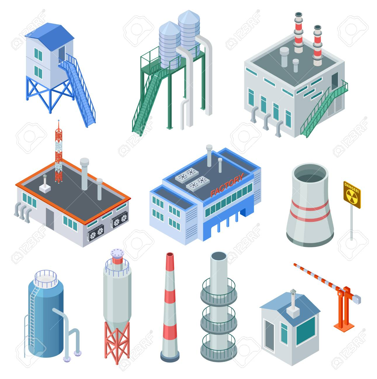 Isometric industrial buildings. Factory building power station industrial zone equipment 3d isolated vector set. Building isometric industry, construction 3d plant manufacturing - 125859256