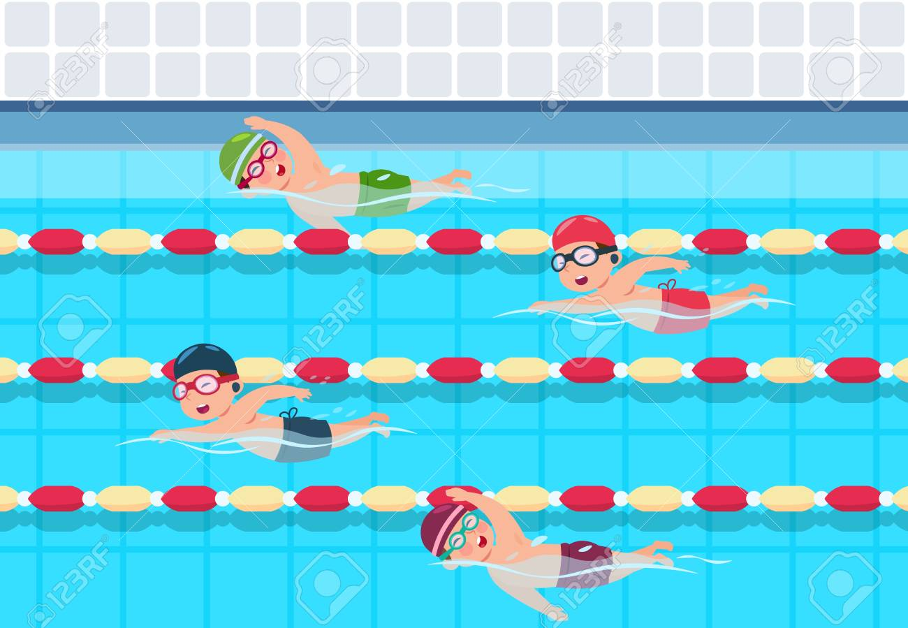 Kids swim. Childrens swimming competition in pool. Sports athletics children vector illustration. Activity sport for child in pool - 125627934