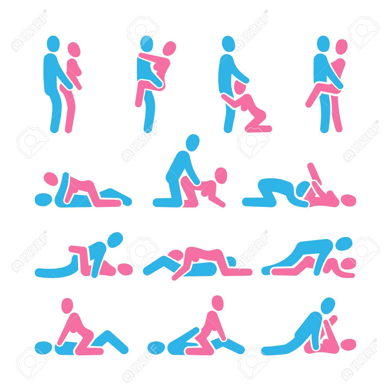 Sexual position vector icons. Sex positioning between man and woman couple pictograms, kamasutra vector set. Illustration of man and woman pose collection - 116380511