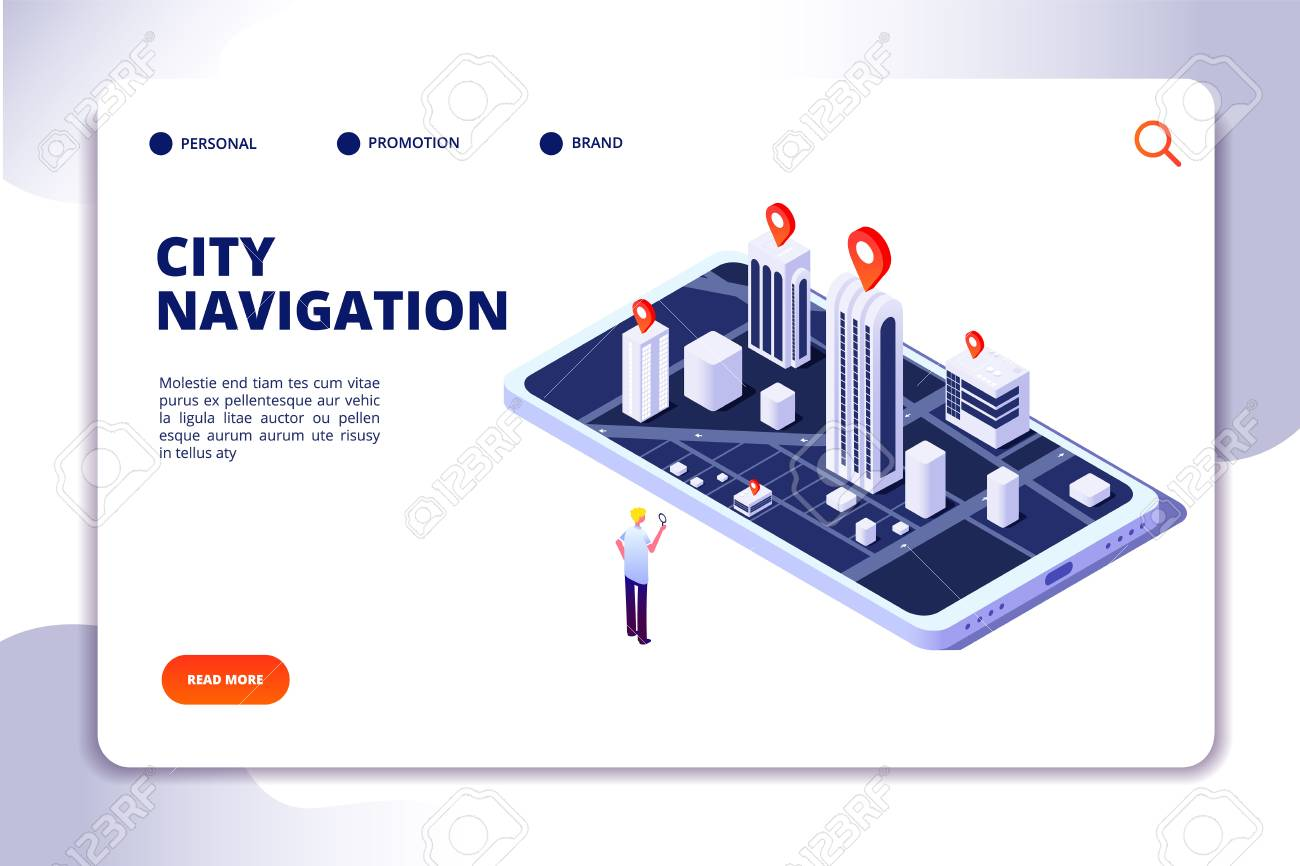 Gps isometric concept  Navigation city 3d map mobile phone, phone